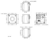 Mechanical drawing and dimensions of 31.4MP GigE Vision Camera PoE Monochrome with Sony IMX342 sensor, model MARS-3140-3GM-P