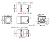 Mechanical drawing and dimensions of 0.4MP GigE Vision Camera PoE Monochrome with Sony IMX287 sensor, model MER-041-302GM-P