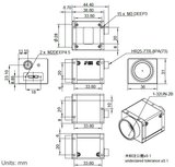 Mechanical drawing and dimensions of USB3 Vision camera 26MP Color with Gpixel GMAX0505 sensor, model ME2P-2621-15U3C