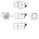 Mechanical drawing of GigE Vision Camera with PoE and OnSemi MT9P031 sensor, model MER-500-14GC-P