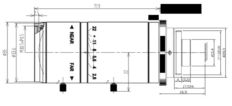 LCM-5MP-150MM-F2.8-1.8-ND1, LENS C-mount 5MP 150MM F2.8 1/1.8