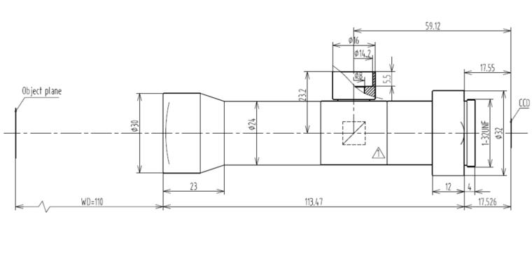 LCM-TELECENTRIC-4X-WD110-1.5, Bi-Telecentric C-mount Lens, magnification 4X, sensorsize 2/3