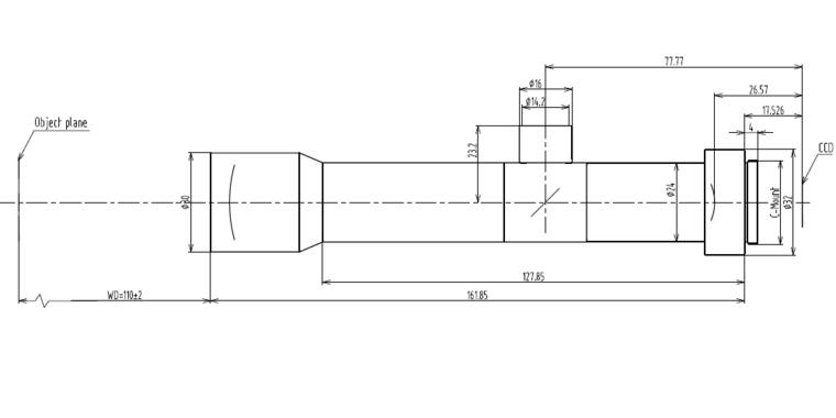 LCM-TELECENTRIC-6X-WD110-1.5, Bi-Telecentric C-mount Lens, magnification 6X, sensorsize 2/3