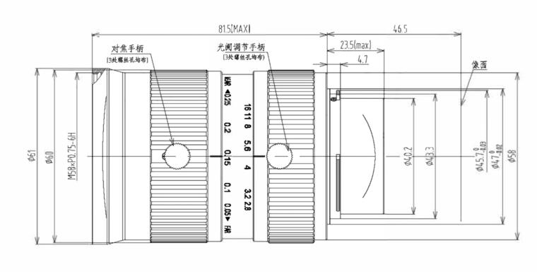 LFM-29MP-35MM-F2.8-45-ND1, LENS F-mount 29MP 35MM F2.8 ImageCircle=45mm NON DISTORTION