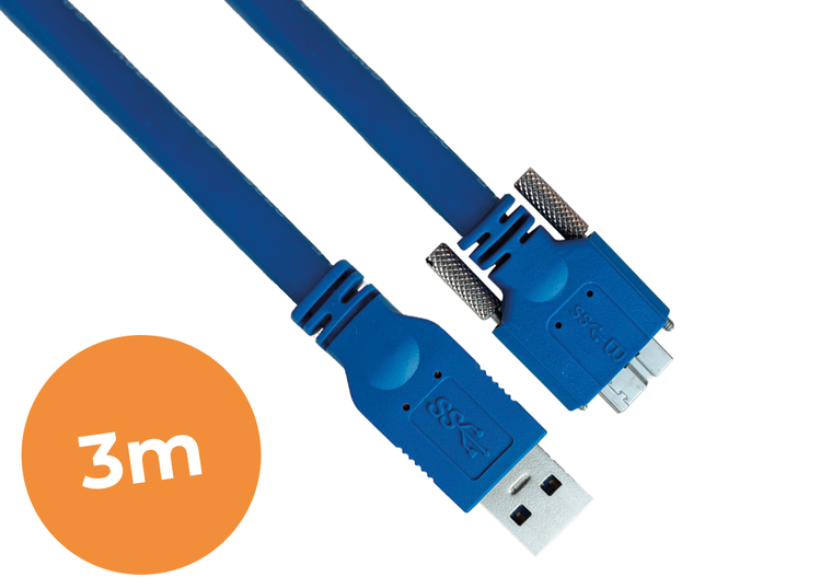 3-meter USB3.0 cable, Industrial grade, Screw lock