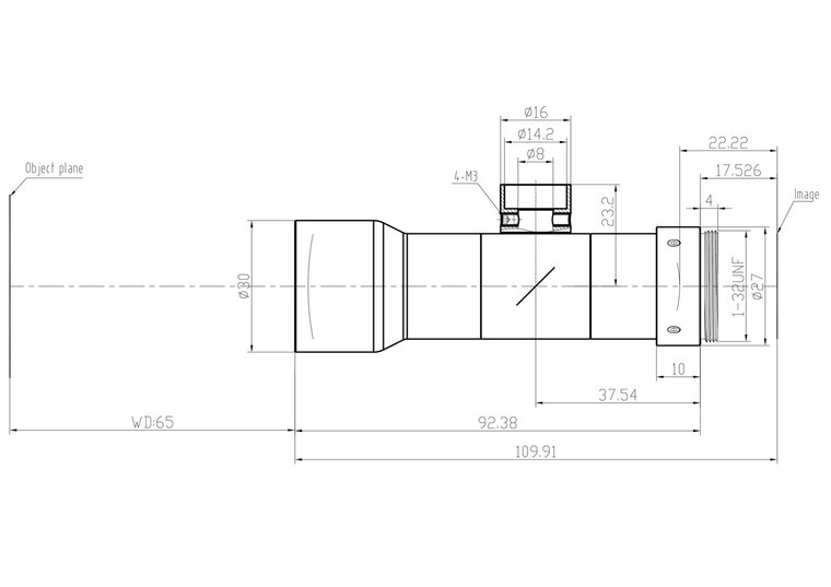 """LCM-TELECENTRIC-0.8X-WD65-1.5-CO, Bi-Telecentric C-mount lens, Magnification 0.8x, Sensorsize 2/3"""""""