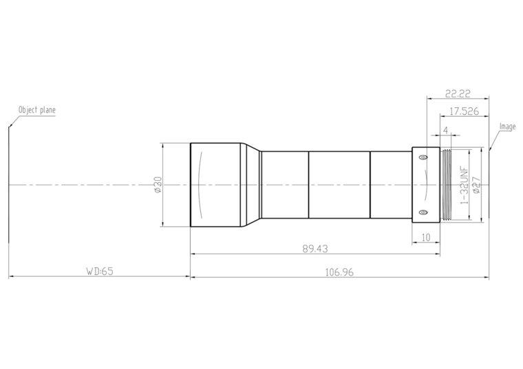 "LCM-TELECENTRIC-0.8X-WD65-1.5-NI, Bi-Telecentric C-mount lens, Magnification 0.8x, Sensorsize 2/3"""