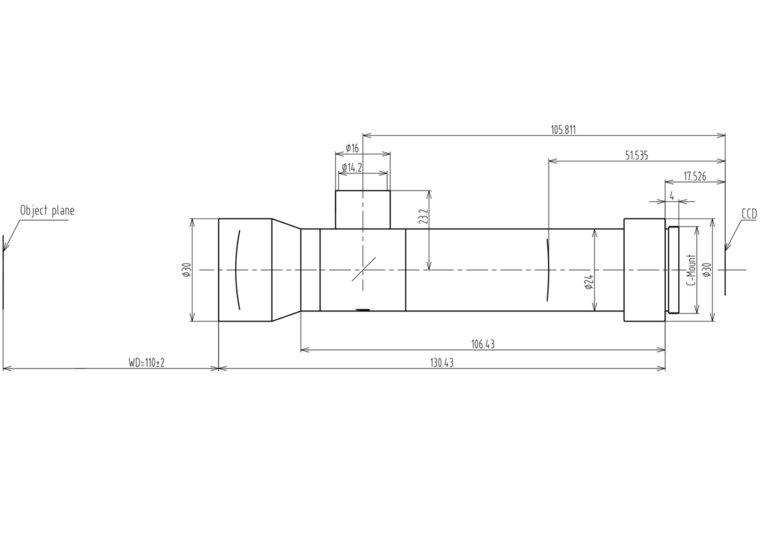"""LCM-TELECENTRIC-1X-WD110-1.5-CO, Bi-Telecentric C-mount lens, Magnification 1x, Sensorsize 2/3"""""""