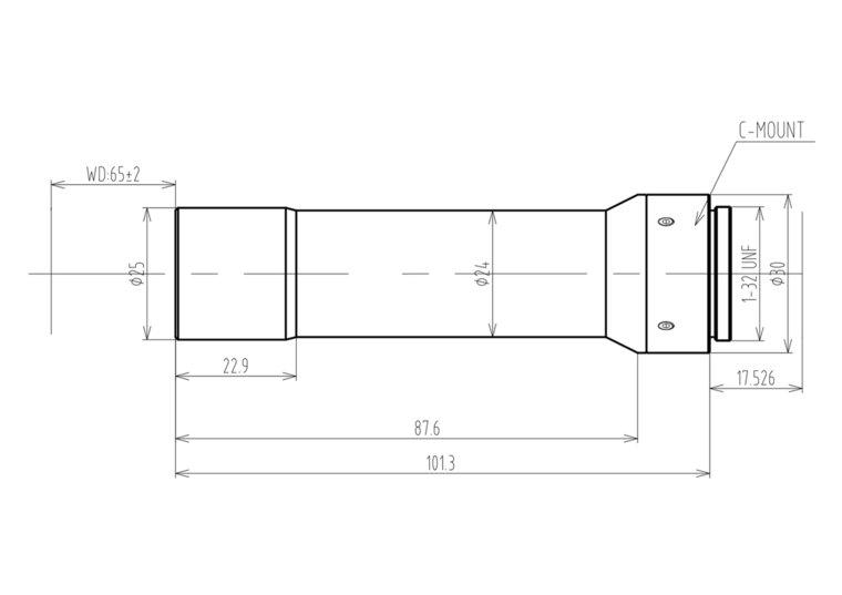 "LCM-TELECENTRIC-4X-WD65-1.5-NI, Bi-Telecentric C-mount lens, Magnification 4x, Sensorsize 2/3"""