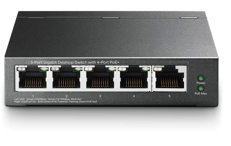 5 port GigE Switch with 4 POE+ ports