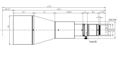 """LCM-TELECENTRIC-0.188X-WD167-1.5, Bi-Telecentric C-mount Lens, magnification 0.188X, sensorsize 2/3"""""""