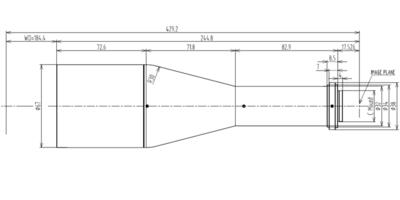 """LCM-TELECENTRIC-0.367X-WD184-1.3, Telecentric C-mount Lens, magnification 0.367X, sensorsize 4/3"""""""
