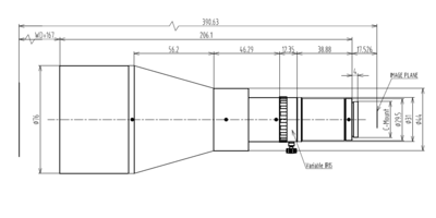 Mechanical Drawing LCM-TELECENTRIC-0.22X-WD167-1.5
