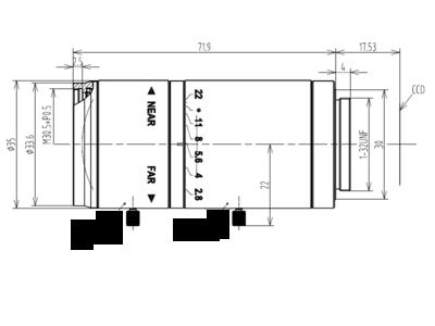 Mechanical Drawing LCM-5MP-75MM-F2.8-1.8-ND1